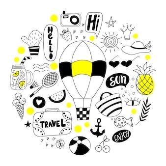 Set di doodle estivo.