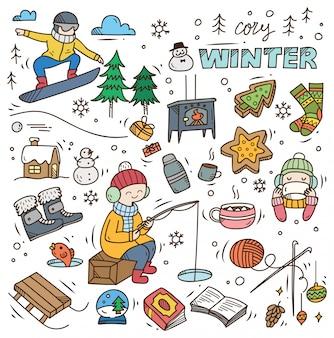 Set di doodle invernale