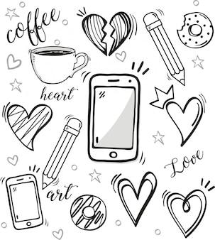 Set di doodle su sfondo bianco