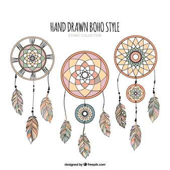 Set di dreamcatchers disegnati a mano