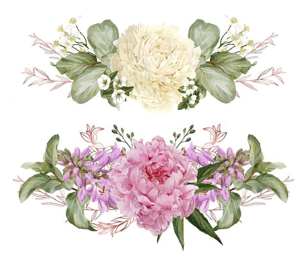 Set di due composizioni floreali simmetriche dell'acquerello
