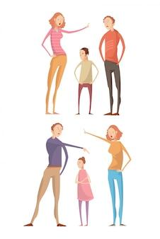 Set di due composizioni isolate con genitori adulti