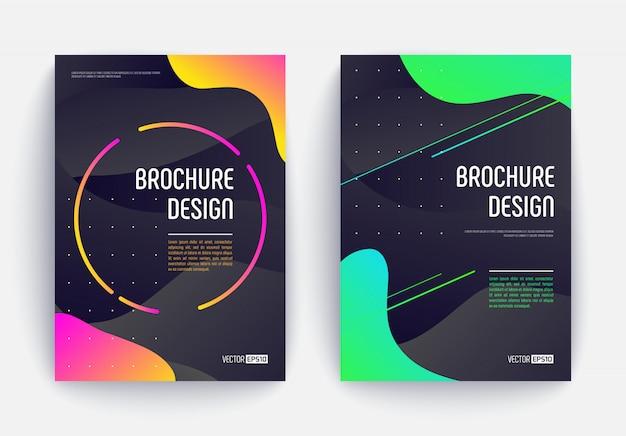 Set di due disegni astratti di copertura liquida con sfumature di colori giallo-rosa e verde-blu