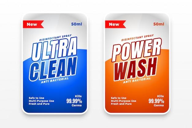 Set di due etichette detergenti detergenti e disinfettanti