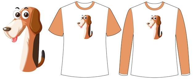 Set di due tipi di magliette con cane nella schermata di forma numero uno su magliette
