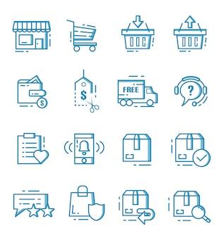 Set di e-commerce e icone dello shopping online con struttura di stile