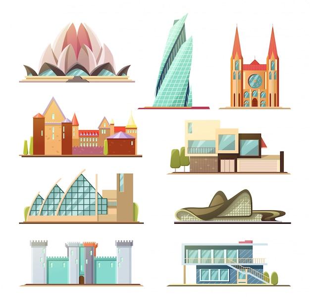 Set di edifici commerciali e residenziali
