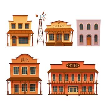 Set di edifici del selvaggio west, design in stile cowboy.