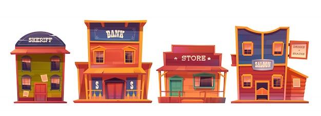 Set di edifici del selvaggio west, stile cowboy.