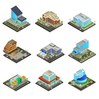 Set di edifici del supermercato moderno isometrico