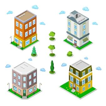 Set di edifici della città isometrica. case moderne. illustrazione vettoriale