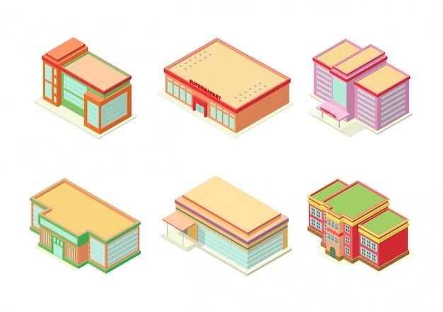 Set di edifici isometrici hotel, appartamento o grattacieli