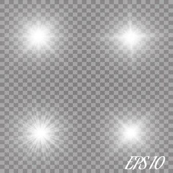 Set di effetti di luce incandescente con trasparenza isolato. riflessi di lenti, raggi, stelle