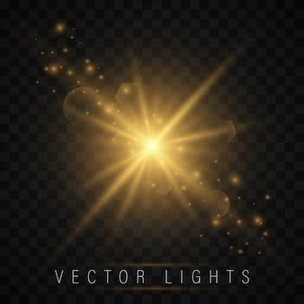 Set di effetti di luce. stella splendente, particelle di sole e scintilla