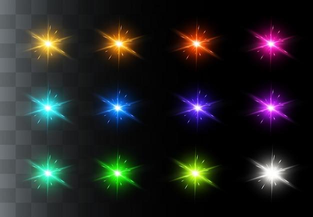 Set di effetti di luce trasparente bianco bagliore isolato, riflesso lente, esplosione, glitter, linea, raggio di sole, scintilla e stelle. disegno astratto dell'elemento di effetto speciale.