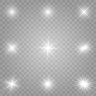 Set di effetti di luce trasparente bianco isolato bagliore