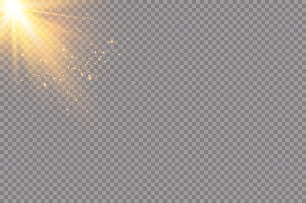 Set di effetti di luci incandescenti dorate su sfondo trasparente. flash del sole con raggi e riflettori. effetto luce bagliore. la stella è esplosa di scintillii.