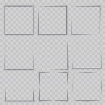 Set di effetti ombra cornice quadrata realistica trasparente
