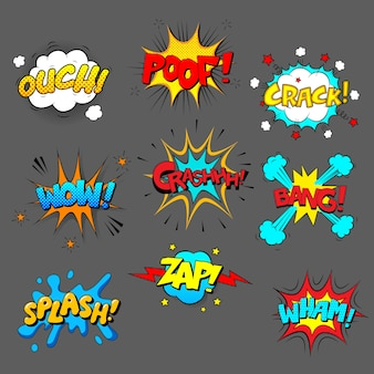 Set di effetti sonori comici, immagini colorate con testo