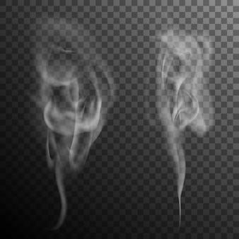 Set di effetto isolato realistico fumo di sigaretta onde.