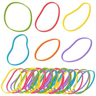 Set di elastici elastici isolato su uno sfondo bianco.