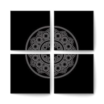Set di eleganti carte nere in stile orientale
