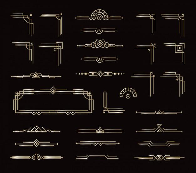 Set di eleganti cornici divisori e altri elementi geometrici decorativi. elementi grafici di carta dorata stile vintage per l'arredamento. disegno isolato stile reale su sfondo nero.