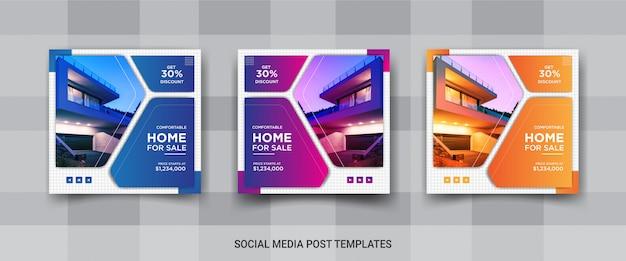 Set di eleganti di instagram immobiliari o di vendita casa