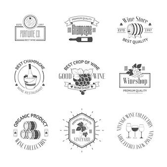 Set di eleganti etichette di vino