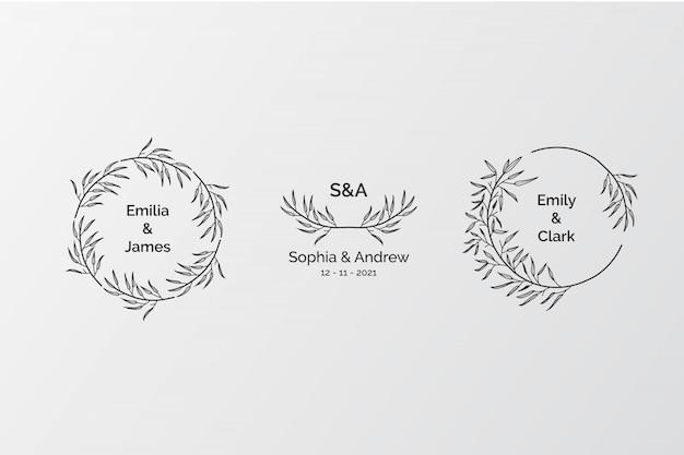 Set di eleganti monogrammi di nozze, creatore iniziale di logo