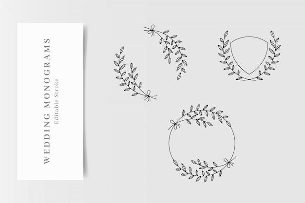 Set di eleganti monogrammi di nozze