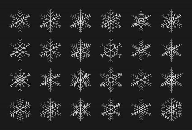 Set di eleganti sagome di fiocchi di neve d'argento. elementi decorativi per natale
