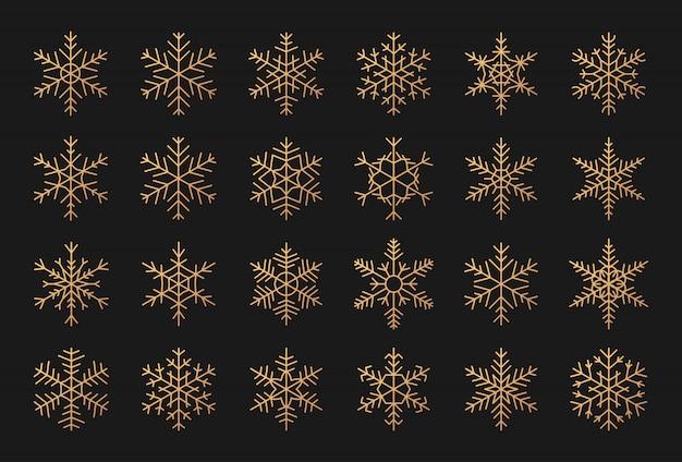 Set di eleganti sagome di fiocchi di neve d'oro. elementi decorativi per natale