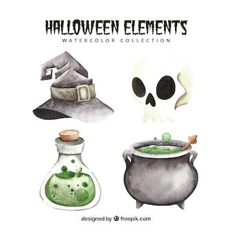 Set di elementi acquerello di halloween