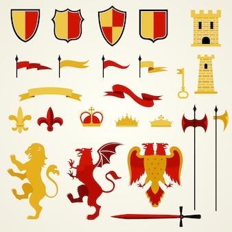Set di elementi araldici