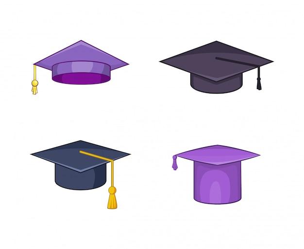 Set di elementi cappello di laurea. insieme del fumetto degli elementi di vettore del cappello di graduazione