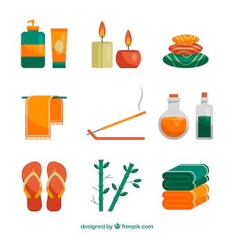 Set di elementi centro benessere con candele e oli aromatici