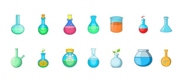 Set di elementi chimici per bottiglia. insieme del fumetto degli elementi chimici di vettore della bottiglia