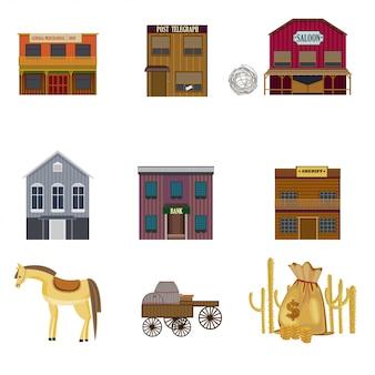 Set di elementi colorati wild west