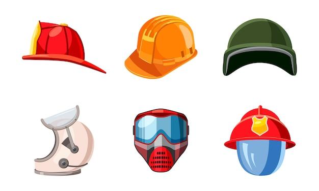 Set di elementi del casco. cartoon set di casco