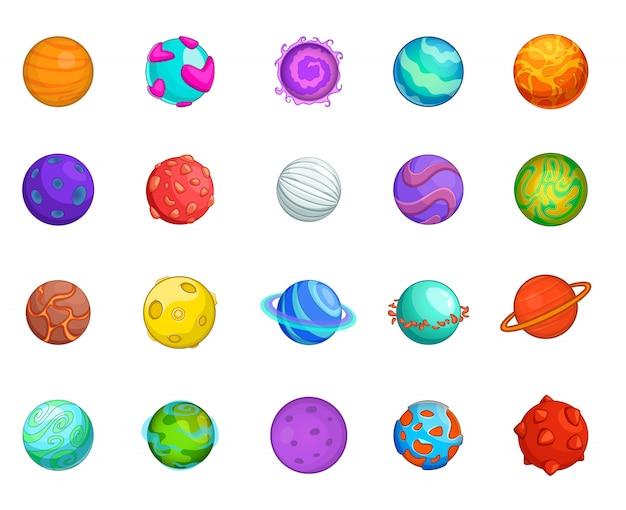 Set di elementi del pianeta. insieme del fumetto degli elementi di vettore del pianeta
