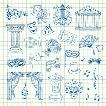 Set di elementi del teatro di doodle sull'illustrazione del foglio di cella