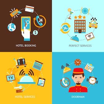 Set di elementi dell'hotel