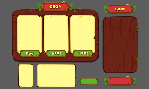 Set di elementi dell'interfaccia utente per giochi e app 2d, game ui part 3