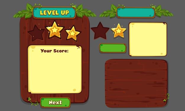 Set di elementi dell'interfaccia utente per giochi e app 2d, interfaccia utente gioco 4