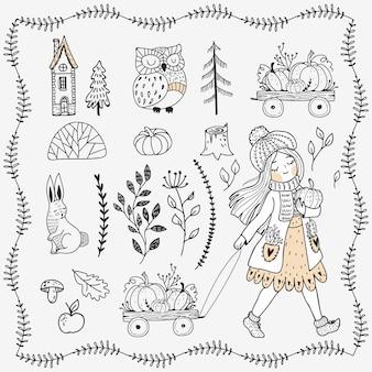 Set di elementi della foresta disegnati a mano. ragazza con il pupmkin