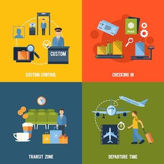 Set di elementi di aeroporto di composizione