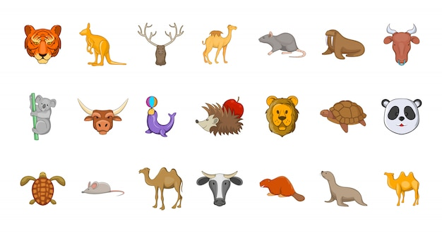 Set di elementi di animali. insieme del fumetto degli elementi di vettore degli animali
