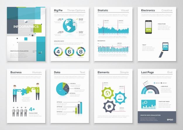 Set di elementi di brochure infografici e grafica aziendale