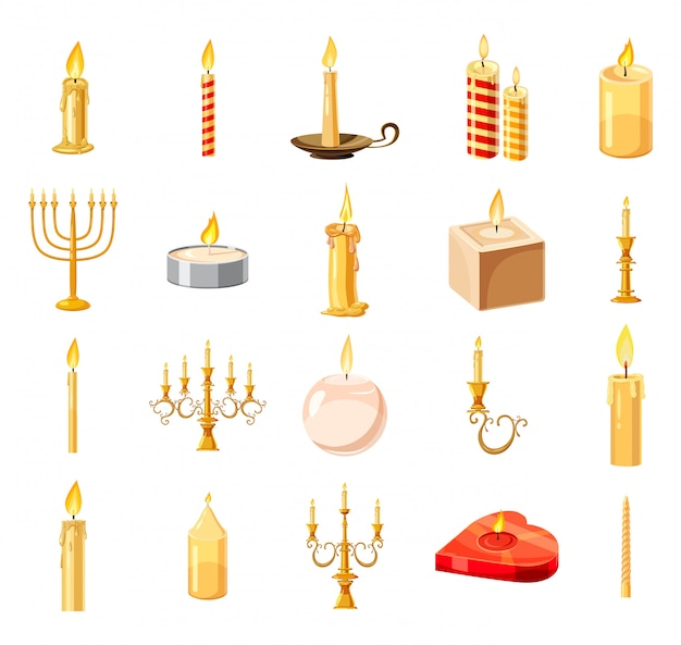 Set di elementi di candela. cartoon set di candela